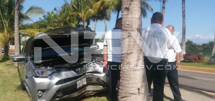 Choca camioneta con palmera En la entrada a Nuevo Vallarta