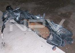 Abandonaron una motocicleta  quemada en San José del Valle